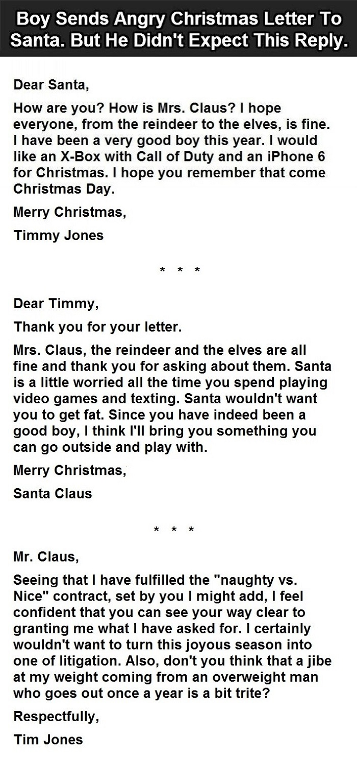 Kid writes santa an angry letter then gets this responseshareable expect handsome gifts from santa but demanding them upfront is something that doesnt look pretty this boy requested for some unreasonably expensive spiritdancerdesigns Image collections